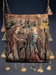 686f384ca77c1 Rechteckige Tasche mit Gold- und Seidenstickerei auf Leinen. Frankreich  (Paris )
